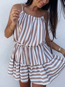 Brown White Striped Print Ruffle Spaghetti Strap Mini Dress