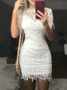 White Patchwork Lace Round Neck Short Sleeve Fashion Mini Dress