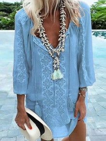 Light Blue Floral Tassel V-neck Long Sleeve Bohemian Chiffon Mini Dress