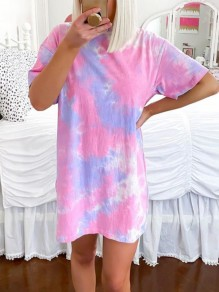 Rose Carmine Tie Dye Floral Round Neck Short Sleeve Casual T-shirt Mini Dress