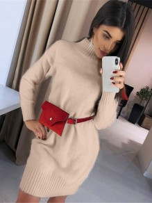 Khaki High Neck Long Sleeve Fashion Sweater Mini Dress