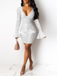 White Patchwork Geometric Sequin Print V-neck Flare Long Sleeve Bodycon Glitter Sparkly Birthday Party Mini Dress