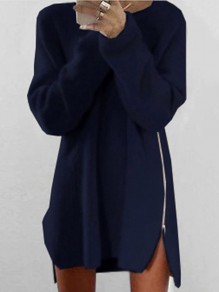 Navy Blue Zipper Loose Round Neck Long Sleeve Cute Mini Dress