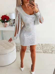 Silver Patchwork Sequin Tassel Cut Out Long Sleeve Fashion Sparkly Mini Dress