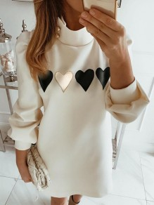 White Heart Print High Neck Long Sleeve Fashion Mini Dress