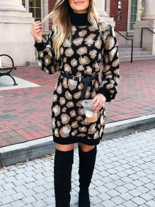Black Leopard Print High Neck Long Sleeve Cute Mini Sweater Dresses