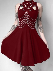 Burgundy Cut Out PU Leather Without Chains Band Collar Sleeveless Skate Tutu Rosatic Witch Gothic Mini Dress