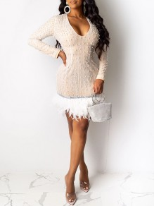 Apricot Patchwork Sequin Pearl Feather V-neck Long Sleeve Hip Bodycon Mini Dress