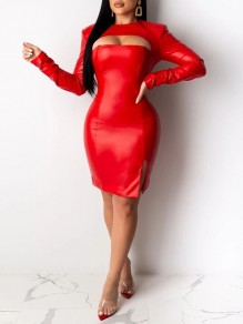 Red Cut Out Long Sleeve Slit Hip Bodycon PU Leather Vinyl Mini Dress