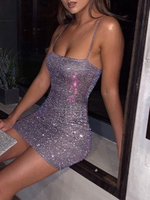 Purple Sequin Shoulder-Strap Square Neck Hip Bodycon Glitter Sparkly Birthday Party Mini Dress