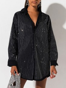 Black Rhinestones Striped Print Glitter Sparkly Turndown Collar Long Sleeve Party Shirt Mini Dress