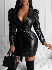 Black PU Leather Belt Long Puff Sleeve Bodycon Mini Dress