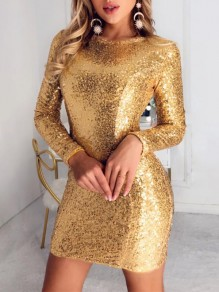 Golden Patchwork Sequin Round Neck Long Sleeve Fashion Mini Dress