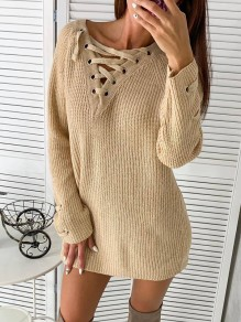 Khaki Patchwork Strappy V-neck Long Sleeve Fashion Mini Sweater Dress