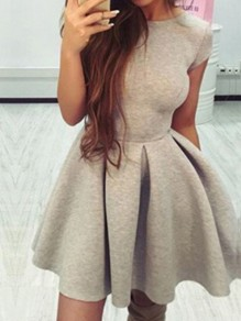 Grey Draped Backless Round Neck High Waisted Cute Skate Mini Dress