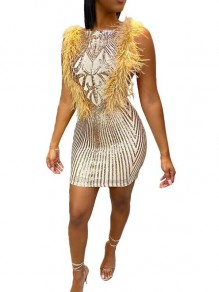 Golden Floral Sequin Feather Sleeveless Bodycon Sparkly Banquet Party Mini Dress