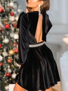 Black Patchwork Velvet Belt Backless Elegant Lantern Sleeve Elegant Prom Mini Dress