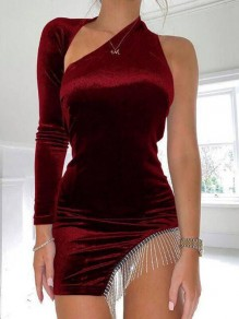 Red Patchwork Tassel Irregular Rhinestone Cut Out Sparkly Pleuche Banquet Party Bodycon Mini Dress