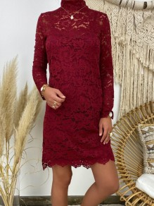 Red Patchwork Lace Band Collar Long Sleeve Fashion Mini Dress