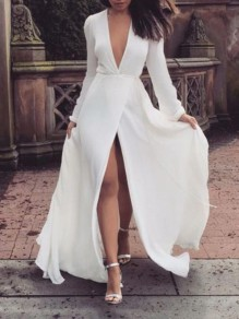 White Slit Deep V-neck Long Sleeve Bodycon Wedding Gowns Party Prom NYE Maxi Dress
