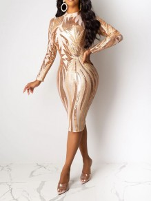 Apricot Patchwork Sequin Bodycon Sparkly Glitter Birthday Party Maxi Dress