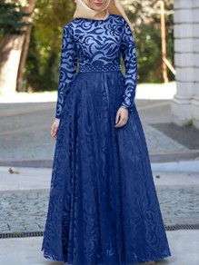 Blue Patchwork Lace Grenadine High Waisted Elegant Banquet Party Maxi Dress