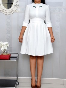 White Embroidery Pleated Bow 3/4 Sleeve Plus Size Elegant Party Prom Midi Dress