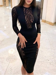 Black Patchwork Lace Bodycon Sheer Long Sleeve Prom Party Mini Dress