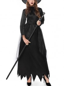 Black Patchwork Grenadine Long Sleeve Halloween Witch Costume Party Gothic Maxi Dress with Hat