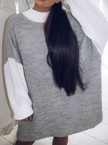 Grey White Color Block Draped Long Sleeve Fashion Sweater Dress