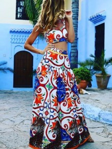 Blue Floral Print Beach V-neck Sleeveless Fashion Two-Piece Dress