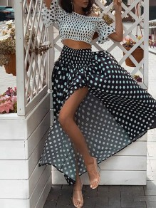 Black Polka Dot Side Slit Off Shoulder Two Piece Boat Neck Short Sleeve Fashion Maxi Dress