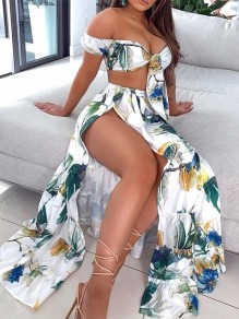 White Green Flowers Ruffle Side Slit Boat Neck Bohemian Two-Piece Dress
