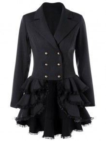 Black Patchwork Cascading Ruffle Notch Lapel Long Sleeve Punk Blazer