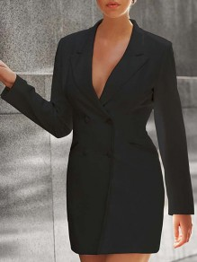 Black Buttons Band Collar Long Sleeve Fashion Suits