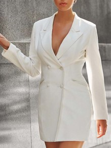 White Buttons Band Collar Long Sleeve Fashion Suits