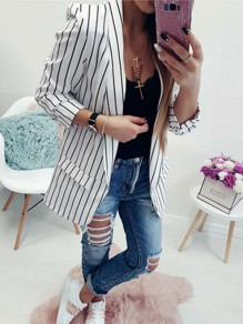 White-Black Striped Pockets Turndown Collar Long Sleeve Casual Suits Blazer