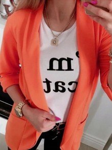 Orange Patchwork Pockets Vintage Long Sleeve Tailored Collar Elegant Blazer