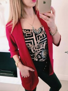 Dark Red Patchwork Pockets Vintage Long Sleeve Tailored Collar Elegant Blazer