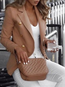 Khaki Bandeau Fashion Sweet Comfy V-neck Long Sleeve Blazer