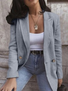 Grey Patchwork Buttons Turndown Collar Long Sleeve Fashion Suit