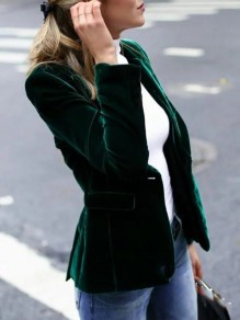 Green Velvet Patchwork Buttons Bodycon Comfy Long Sleeve Elegant Work Prom Blazer