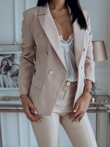 Beige Patchwork Buttons Pockets Elegant Notch Lapel Long Sleeve Fashion Suit