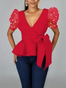 Red Pearl Belt Bow Pleated Peplum V-neck Party Blouse