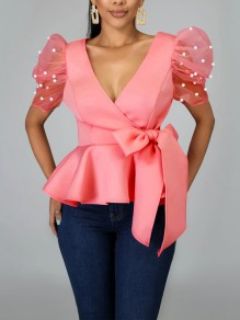 Pink Pearl Belt Bow Pleated Peplum V-neck Party Blouse