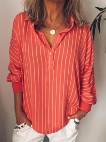 Red Striped Print Buttons V-neck Dolman Sleeve Fashion Blouse