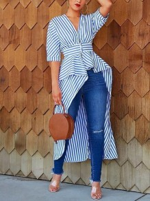 Blue-White Striped Irregular Swallowtail Peplum High-low Half Sleeve Casual Blouse