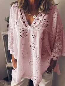 Pink Patchwork Lace V-neck 3/4 Sleeve Fashion Going out Blouse