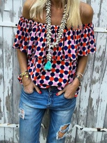 Red Polka Dot Print Ruffle Off Shoulder Elegant Blouse