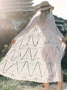 White Lace Beach Cover Up Bikini Sunscreen Bohemian Kimono Women Blouse